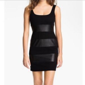 Bailey 44 Striped Cotton - Faux leather Dress Sz S